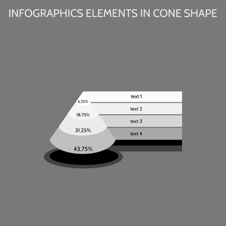 tier: Infographics elements in cone shape in gray shades - four-level chart