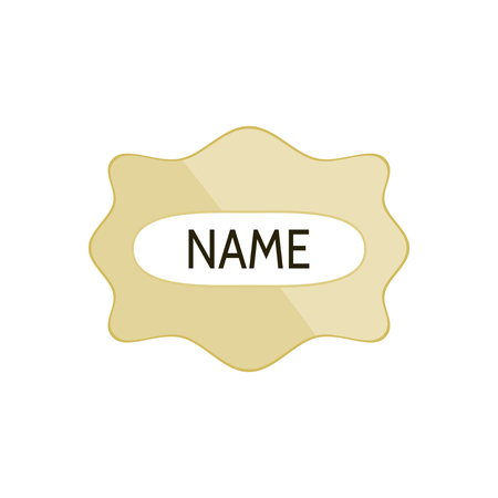 brass plate: Simple label in retro style reminiscent of the brass plate.
