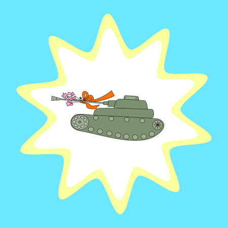 Military tank with a bouquet of flowers tied to the barrel. Retro illustration in the 70s style. Illustration