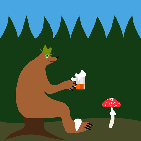 a toadstool: Bear in green hat sitting in the evening at dusk on a tree stump in the coniferous forest and holding a pint of beer and watching a toadstool. Illustration