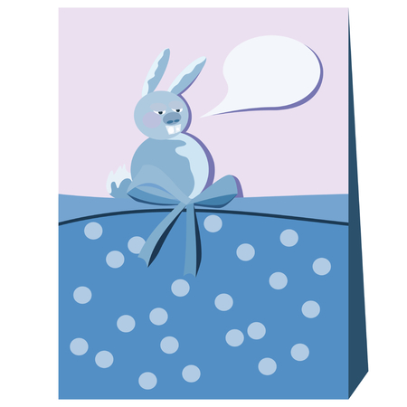 Fat bunny with communication bubble. Retro stylized cartoon drawing. Dotted pattern with ribbon. Card or brochure. Blue pink white illustration. Illusztráció