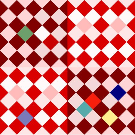 oblique: Colorful oblique checkerboard - retro pattern in cubist or op art style Illustration