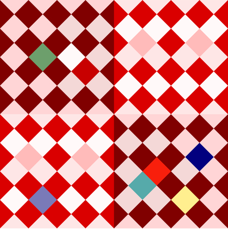 Colorful oblique checkerboard - retro pattern in cubist or op art style Illustration