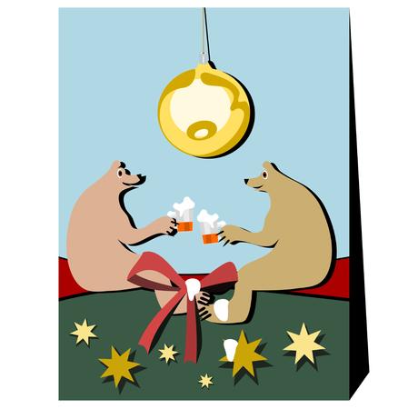 amigas conversando: Dos osos individuales en una conversación amistosa con una cerveza. Medio Ambiente evoca asociaciones de Navidad. Por encima se enciende una bombilla grande de Navidad. espuma de la cerveza corrió por la cinta, el pie de oso y una estrella de oro.