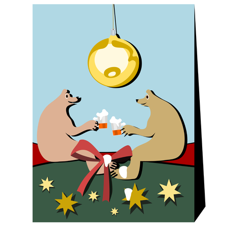 big foot: Two single bears in friendly conversation over a beer. Environment evokes Christmas associations. Above is lit a big Christmas bulb. Beer foam ran down the ribbon, bear foot, and a gold star.