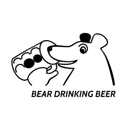 pint: Head of animal holding glass pint with inscription bear drinking beer