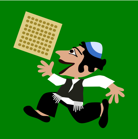 kippah: Little black-haired boy in blue yarmulke runs, holding a rectangular unleavened bread. Simple stylized flat illustration isolated on green background.