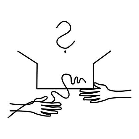 One hand holds the open box and the other hand removes string (ribbon). Above the box question mark. Simple stylized vector drawing. Illustration