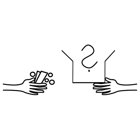 fraudulent: Hand holding a pack of money and a hand holding an open box of unknown content - a symbolic expression of paying for an unknown, poor or fraudulent goods. Business icon. Crime icon. Simple vector.