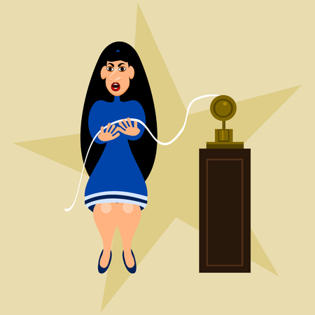 bad news: Black-haired girl in a blue dress indignantly viewing tape of the telegraph.