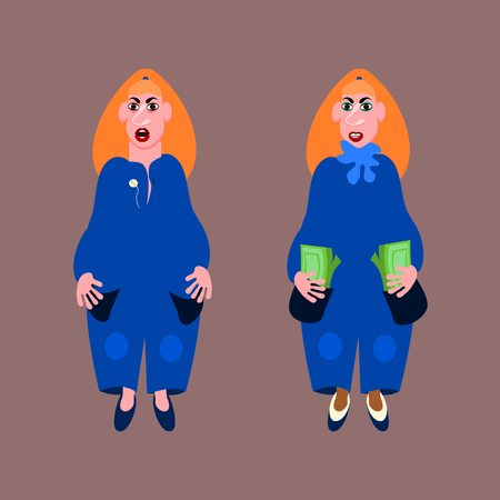 Two red-haired pleb woman in a blue dress. One having scarf, slippers and money. The second has empty pockets.