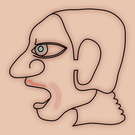 agape: Expressive face profile of human head - simple stylized digitally drawing with strong lines and blur - a person with an open mouth agape or screaming or singing