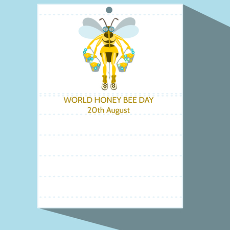 20th: Calendar page with stylized cartoon bee illustration and inscription World Honey Bee Day 20th August - simple digital drawing