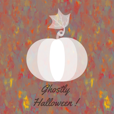whitish: Whitish pumpkin on yellow orange brown gray spotted background with dark inscription Ghostly Halloween!