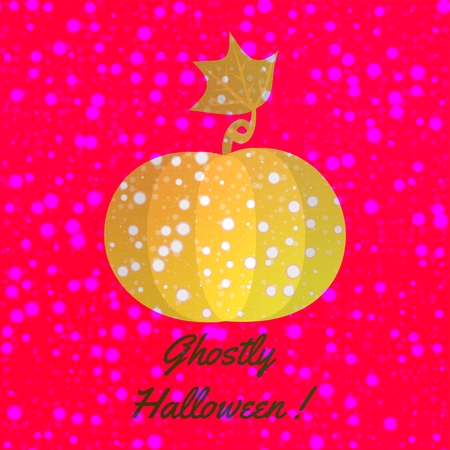 ghostly: Orange shining pumpkin with snowflakes on burning red background with dark gray inscription Ghostly Halloween. Digitally drawing blended with computer generated fractal bokeh pattern. Stock Photo