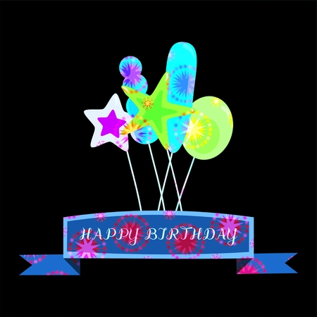 radiant: Neon lighting radiant psychedelic colors birthday card with ribbon and party air balloons on black