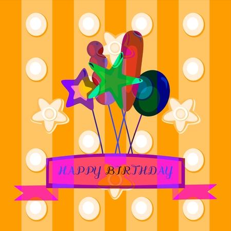 optimistic: Optimistic decorative birthday congratulation with a predominance of orange