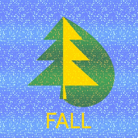 Green yellow spruce tree with inscription fall on blue background. Spotted digitally rendered design manufactured by layers blending.