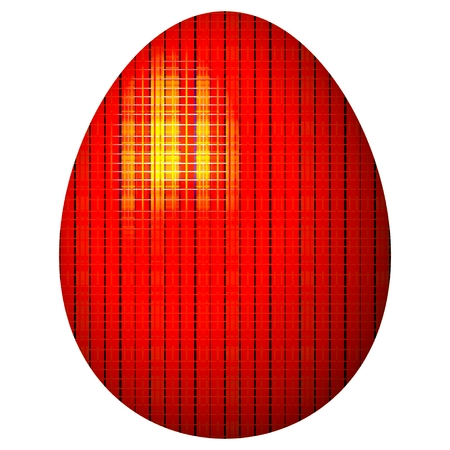 feasts: Gaudy glossy red Easter egg on white background - congratulation card for spring feasts or design element