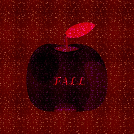 pome: Dark reddish spotted background with deep silhouette of apple fruit through which the inscription Fall.