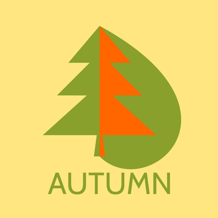 symbolize: A vector illustration of a spruce tree and the text autumn bellow. Illustration