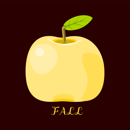 pome: Yellow apple on black brown card with inscription Fall
