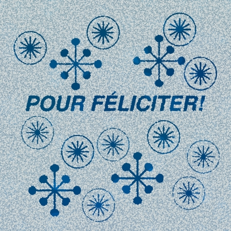 pour feliciter: Pour f�liciter lettering and decorations carved into the frozen surface or window