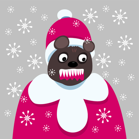 bared: Bloodthirsty dark brown bear dressed in a coat and hat of Santa, in a blizzard, teeth bared, mouth with blood. Illustration