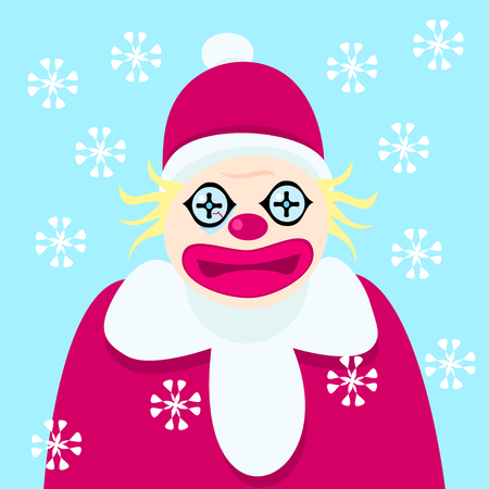 buffoon: Disturbing clown with bloody fiber of the eye in the clothes of Santa Claus