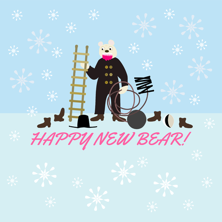 pairs: Happy New Evil Bear - wordplay with dark sarcasm - white bear in sweeping cloth and on ground is hat, cap and two pairs of shoes