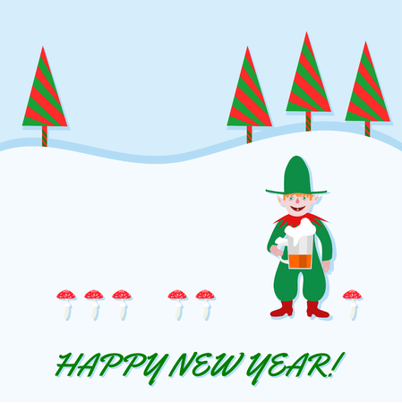 sorted: Elf with pointed ears, green red outfit, holding a beer. Beside him sorted toadstools. Backgrounds snowy landscape with stylized firs. Green text Happy New Year. Left from the middle copy space. Illustration