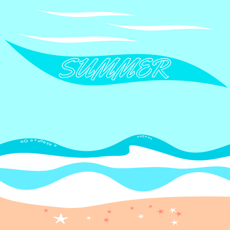 Blinding summer background on shore with ocean waves and the inscription Summer.