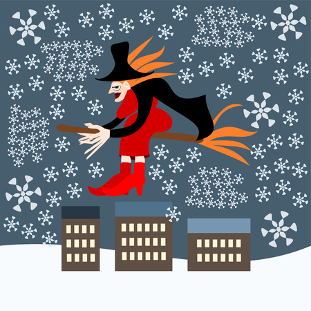 Italian Christmas Vector Similar Images Add To Likebox Redheaded Woman Witch Befana Sitting On A Broomstick Flying Over The City During Blizzard
