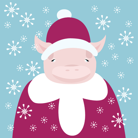 piglet: Cute piglet dressed as Santa - crazy cartoon Christmas and New Year card Illustration