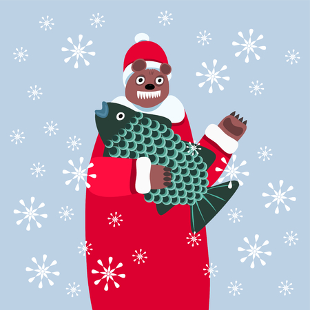big fish: Bear in red and white winter clothes, laughing, teeth showing, carries big fish. It is snowing. Mixed associations on Christmas theme.