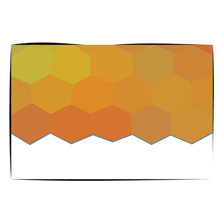 honeyed: Design card with gold orange honeycombs and copy space