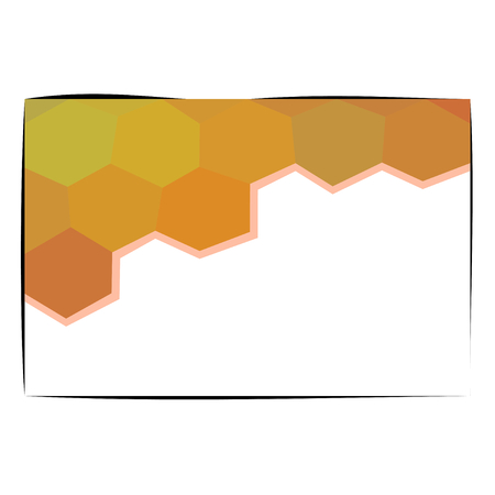 ocher: Honeycomb shapes in gold yellow orange ocher shades with copyspace on rectangular card Illustration