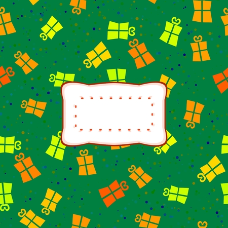 affixed: Green background with orange, red and yellow gift boxes - digitally pattern affixed with clear etiquette Stock Photo