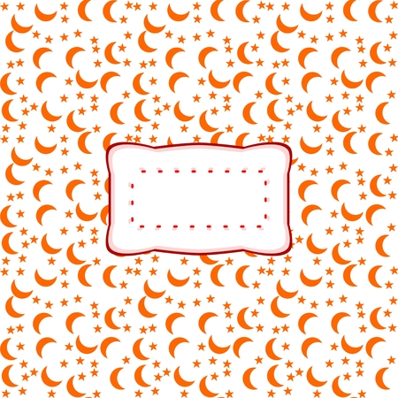 randomized: Curvy label in retro style with clear copy space on square background with small crescents and stars Stock Photo