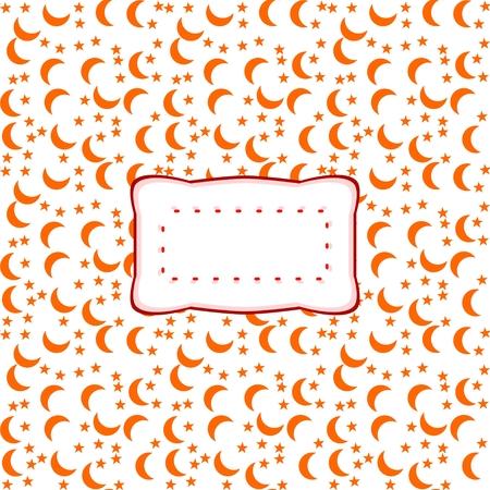 estrellas cinco puntas: etiqueta de curvas en estilo retro con espacio de copia clara en el fondo cuadrado con pequeñas medias lunas y estrellas