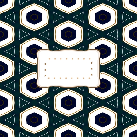 affixed: abstract kaleidoscopic decorative background with etiquette with copy space