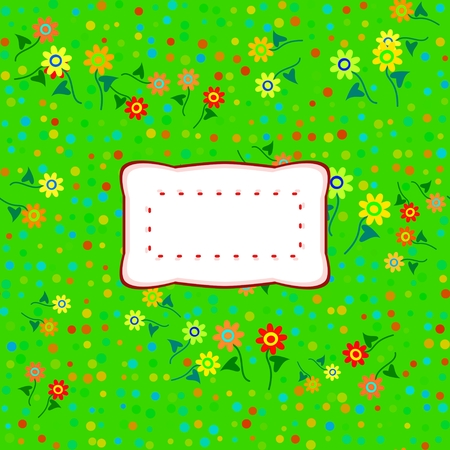 affixed: colorful floral decorative background with sticker with copy space Stock Photo