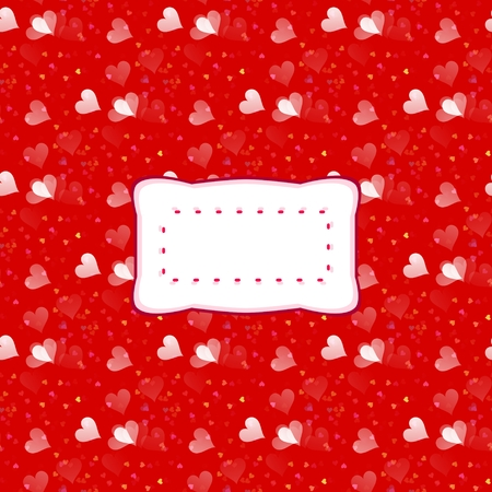 Decorative red white pattern with clear label and small blended hearts Stock Photo