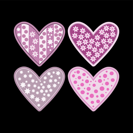 muted: Pink purple hearts with flowers stars and polka dots isolated on black background