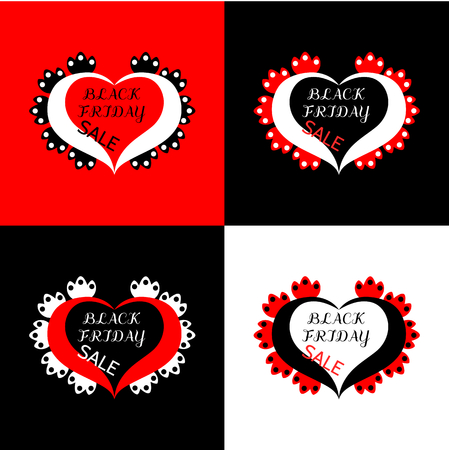 inscribed: Black friday sale, inscribed in ornamental hearts, decorated with petals. Set of simple graphic banners. Usable for underwear. Illustration