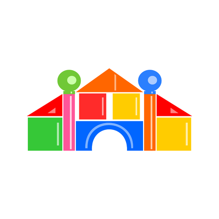 illustrated: Colorful house illustrated using geometric shaped building blocks on white. Illustration