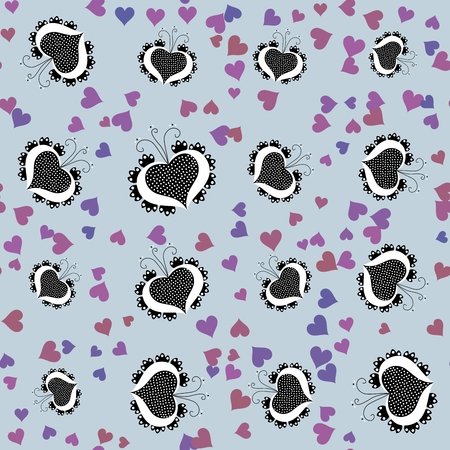 Seamless pattern shaped by a combination of traditional folk cartoon heart figure and digitally rendered fractal generated background Stock Photo
