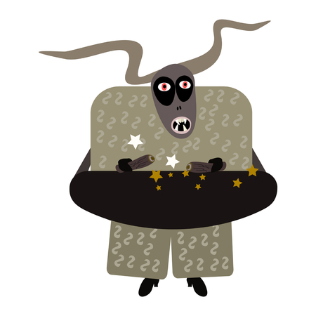 Spooky devil styled by european folk tradition Krampus. Simple flat vector graphic.