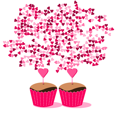 Sweet cupcakes in pink red packaging with many hearts - flat drawing Illustration