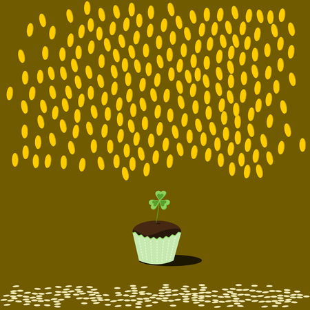 Dark chocolate cupcake in green packaging with clover leaf. Illustration
